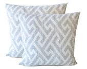 Gray Geometric Pillow. Maze Throw Pillow.  Medium Grey And Ivory Cushion. Greek Key Cushion. Home Decor.