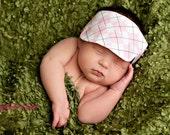Pink Argyle Golf Hat Visor  Newborn Photography Prop Ready To Ship