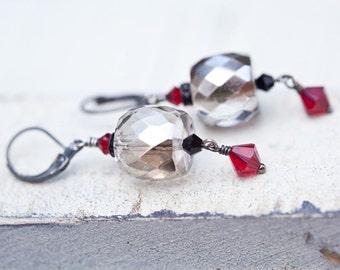 Chunky Silver Glass Earrings, Silver, Glass Earrings, Chunky Earrings, Red, Swarovski Earrings, Red Gray Earrings, Chunky Glass Earrings