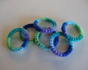 Crochet Ring Cat Toys- PEACOCK Set of 6