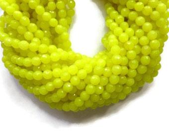 Electric Yellow Jade - 6mm Faceted Round Bead - Full Strand - 65 beads - neon yellow - bright yellow - lemon