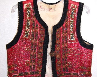 Incredible Vintage 20s Folkloric Hippie Bohemian Embroidered Leather Vest