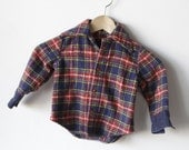 80s red PLAID flannel nirvana BOYS kids shirt