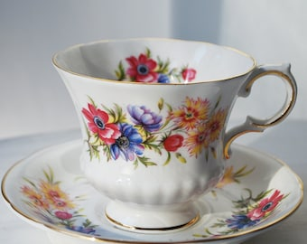 "Paragon Teacup and Saucer, Flower Festival ""J"""