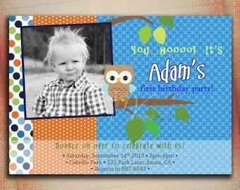 Owl Birthday Invitation, Litlle Owl Birthday Invitation, Owl Boy Birthday Invitation, Polka Dot Owl Brithday Invite-DIY
