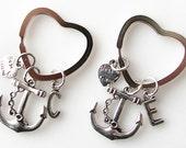 best friend gift ideas, friendship gift, best friend keychain set of 2, personalized gift for best friends, bff gifts, heart anchor keychain