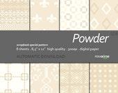 "Digital Paper +Powder + Scrapbook Quality Paper Pack  (8.5x11""- 300 dpi)   8 sheet pack paper  028 + Instant Download +"