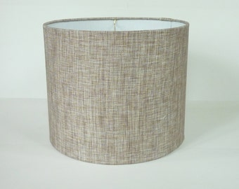 Mid Century Cylinder Shaped Modern Gray Linen Drum Lampshade in Silvery Taupe Linen Fabric