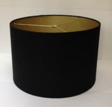 large drum lamp shade in black linen fabric with metallic gold. Black Bedroom Furniture Sets. Home Design Ideas