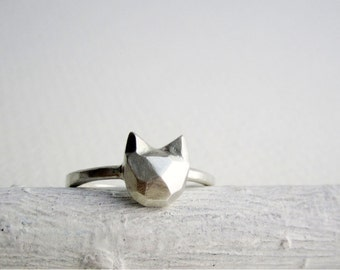 Faceted Cat Sterling Silver Ring