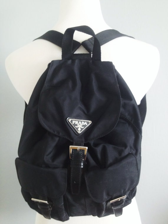 Vintage 90s Prada Black Nylon Mini Backpack by DarknessandDawn - prada backpack black