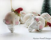 Whimsical Santa ornament -  Christmas - Paper Clay Sculpted