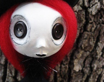Goth Art Doll- Buttom Eyed Art Doll - Halloween Art Doll -Made To Order