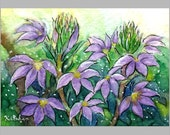 ACEO original -- Purple Flowers