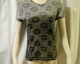 Charcoal & gray color removal tie dye shaded floral lacy design t shirt top tee soft