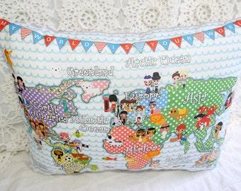 World Map Children Around the World Pillow