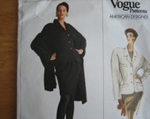 Vogue American Designer Patterns 2216 DONNA KARAN Misses's Jacket & Shawl  1988   Uncut