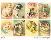 Digital Clipart, instant download, Kitten Images, White Kitty, Cat--2.5 by 3.5 Inch Images--Digital Collage Sheet (8.5 by 11 inches)  474