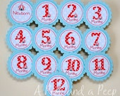 Circus Birthday Photo Display Decorations Tags in Blue Teal Red Polkadots