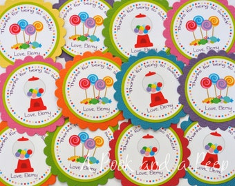 Candyland Sweet Shoppe Multi Color Favor Tags or Stickers Personalized for Birthdays and Showers