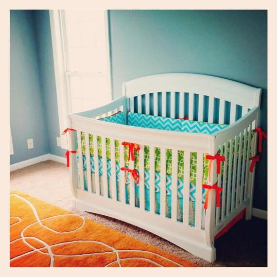 Like this item? - Modern Baby Bedding Aqua Orange Lime Green Crib Set Crib