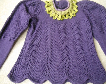 Adorable purple lacy sweater with lime feature neckline and eg of mutton sleeves S