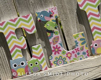 Custom Nursery Wooden Letters, Baby Girl Nursery - Dena Happi Tree Theme (Owls, Birds) Custom Letters, 9 Inch Size