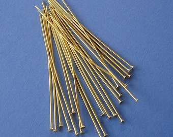 100- Gold Plated Brass Headpins 2 Inch 21 Ga.