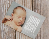 BABY ANNOUNCEMENTS : he's here style - flat cards and envelopes