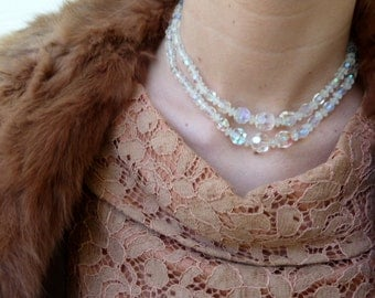 Short, layered, crystal necklace