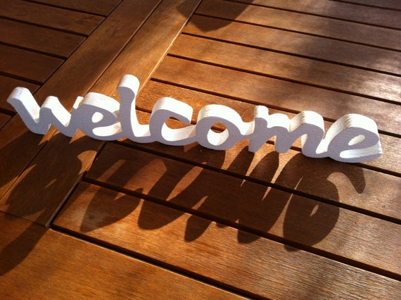 Wood Sign Home Decor Wooden Word WELCOME Wooden Sign By