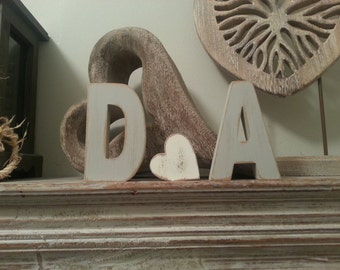 Wooden Wedding Letters and a Love Heart - various finishes - set of 3 - 30cm - various colours and finishes
