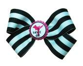 Karate Girl Martial Arts Hot Pink Black Stripe Hair Bow