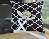 Black and White Ring Bearer Pillow