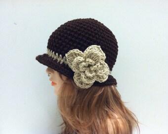 Crochet Cloche Flapper Hat - ESPRESSO/LACE