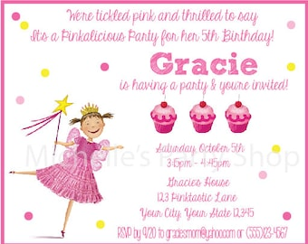SET OF 12,  Pinkalicious Invitations, envelopes included