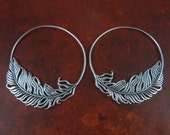 Feather Hoop Earrings - Silver Feather Hoop Earrings