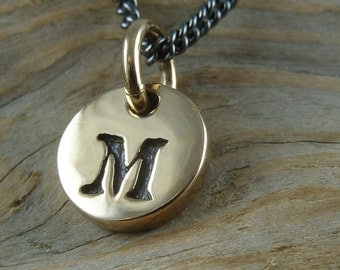 """Initial Necklace - One Bronze Letter Charm on 18"""" Gunmetal Chain"""