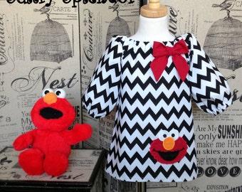 Sesame Street Elmo Dress, Elmo Birthday Dress, Elmo Outfit, Elmo Toddler Dress, 3/4 Sleeve Dress, Girl Peasant Dress, First Birthday Dress