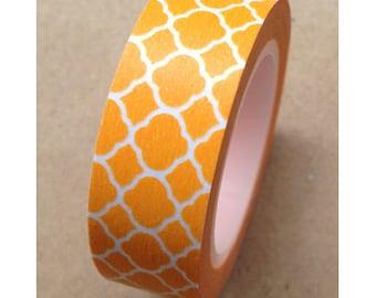 Washi Tape Orange Quatrefoil Decorative Washi Tape 11 yards 10 meters 15mm Neon Orange Washi Tape