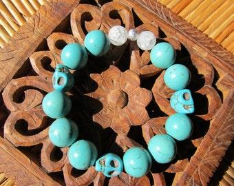 Inner & Truth - inspirational crystal gemstone bracelet-boho yoga zen sugar skull