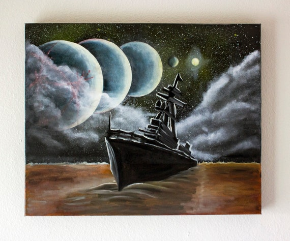 "Surreal Oil Painting -DREAM 15- Original Space Painting Oil On Canvas 16"" x 20"""