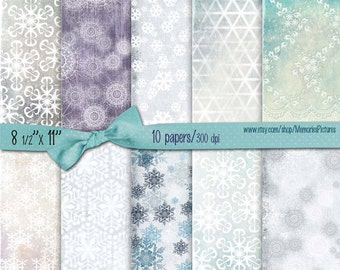 Digital Christmas Papers // Snowflakes, snow  // light blue, green decoupge papers  Commercial Use // 8.5 x 11 in sheets, 10  papers (013us)