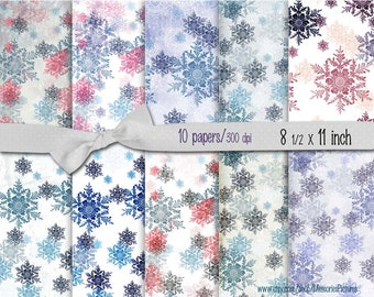 Digital Christmas Papers // Snowflakes, gift paper  // light blue, green, red   // Commercial Use // 8.5 x 11 in sheets,  10  papers (016us)