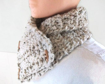 Mens Aran NeckWarmer, Scarf, Cowl or Collar Crocheted in Oatmeal. Winter Warmers, Mens Fashion Accessories.