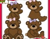 Tattered Teddies Brown Bear Clipart (Digital Download)