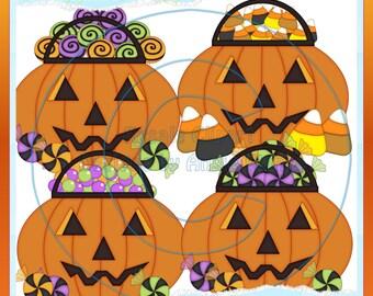 Happy Halloween Candy Pumpkins Clipart (Digital Download)