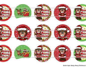 "15 Beary Merry Christmas Bears 1 Digital Download for 1"" Bottle Caps (4x6)"