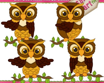 Adorable Owls 1 Clipart (Digital Download)