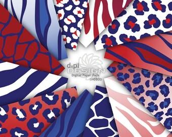Red, White & Blue Animal Prints - Digital Scrapbook Paper - Printable Zebra Leopard Giraffe Background Patterns - Instant Download (DP080D)